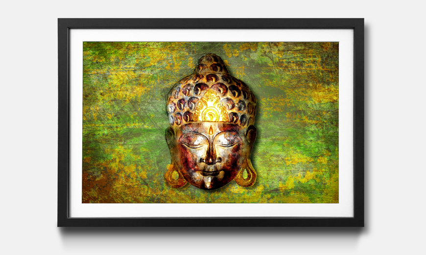 Der gerahmte Kunstdruck Buddah Head