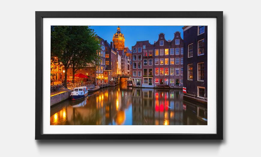 Der gerahmte Kunstdruck Canal in Amsterdam