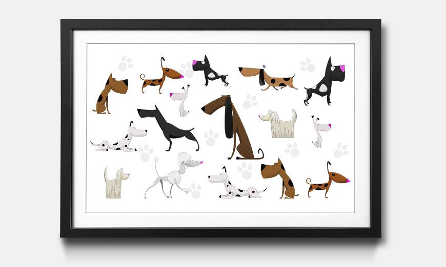 Der gerahmte Kunstdruck Cartoon Dogs