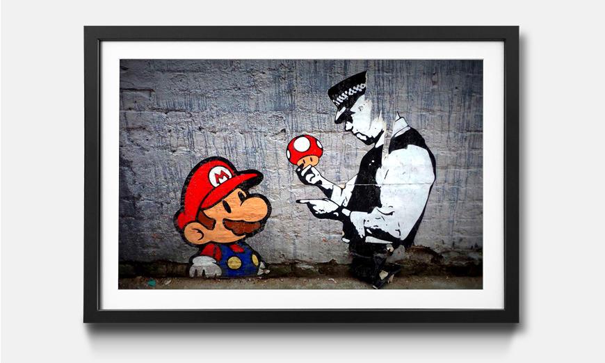 Der gerahmte Kunstdruck Caught Mario