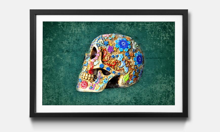 Der gerahmte Kunstdruck Colorful Skull