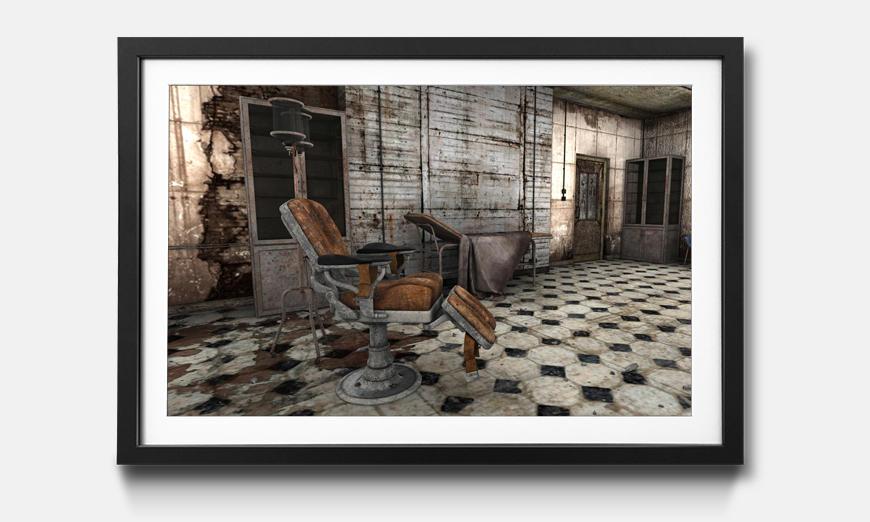 Der gerahmte Kunstdruck Decayed Barber