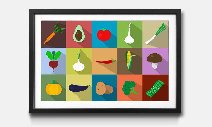 Der gerahmte Kunstdruck Funny Vegetables