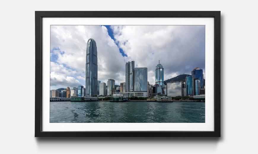 Der gerahmte Kunstdruck Hong Kong Skyline