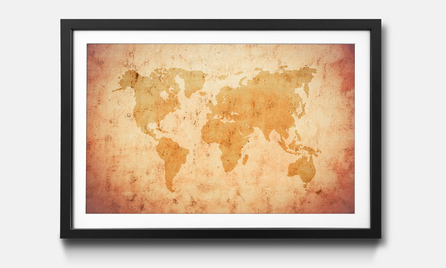 Der gerahmte Kunstdruck Old Map Of The World
