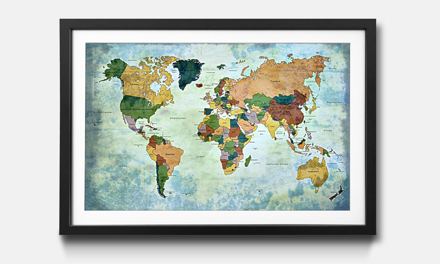 Der gerahmte Kunstdruck Old Worldmap 1