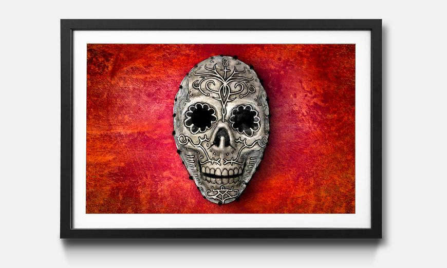 Der gerahmte Kunstdruck Skull On Red