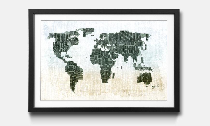 Der gerahmte Kunstdruck Worldmap No.1