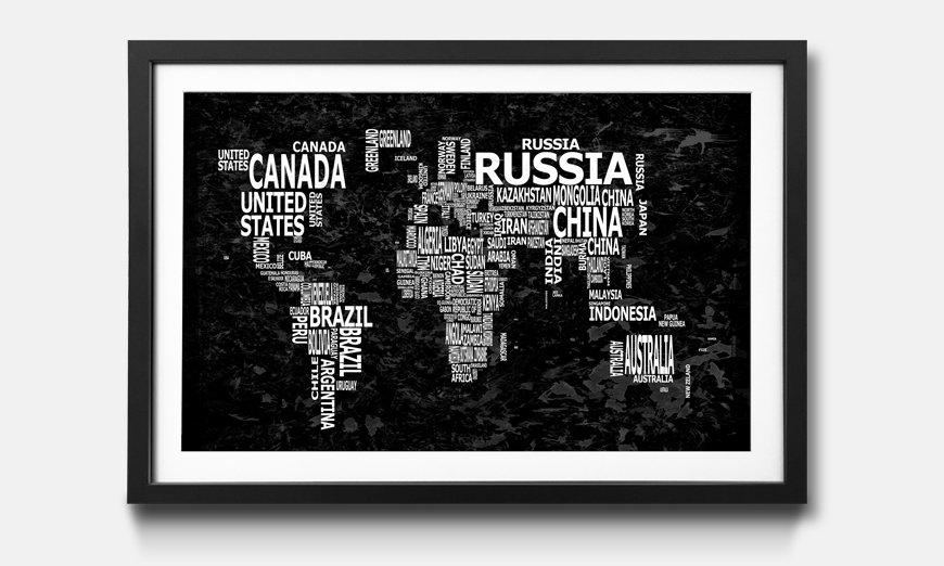 Der gerahmte Kunstdruck Worldmap No.12