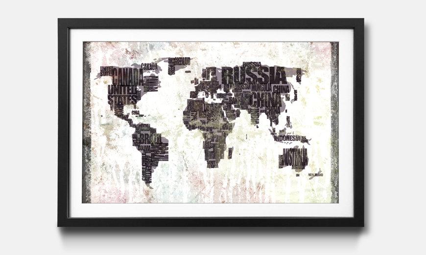 Der gerahmte Kunstdruck Worldmap No.17
