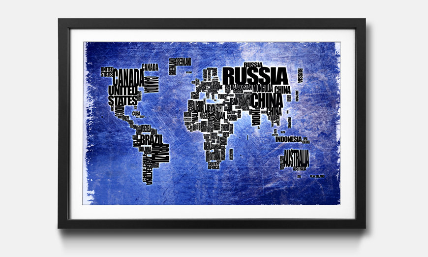 Der gerahmte Kunstdruck Worldmap No.2