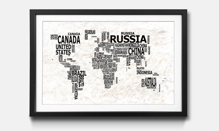 Der gerahmte Kunstdruck Worldmap No.21