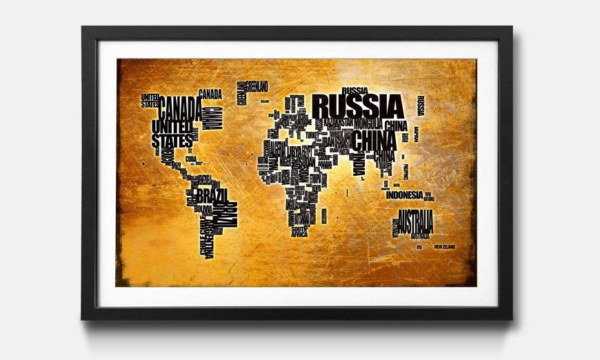Der gerahmte Kunstdruck Worldmap No.6