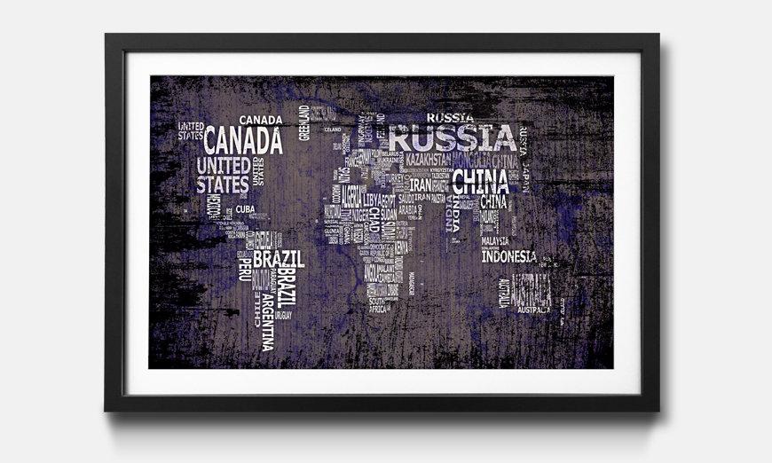 Der gerahmte Kunstdruck Worldmap No.9