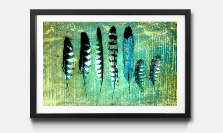 Kunstdruck gerahmt: Blue Feathers