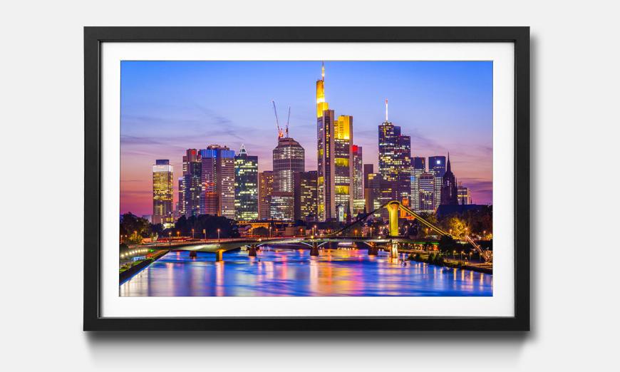 Kunstdruck gerahmt: Frankfurt Skyline