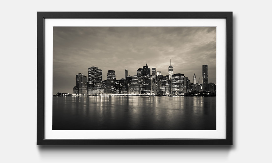 Kunstdruck gerahmt: Manhattan by Night
