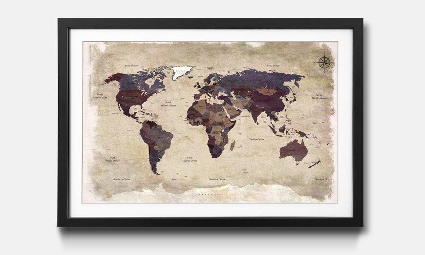 Kunstdruck gerahmt: Old Worldmap 3