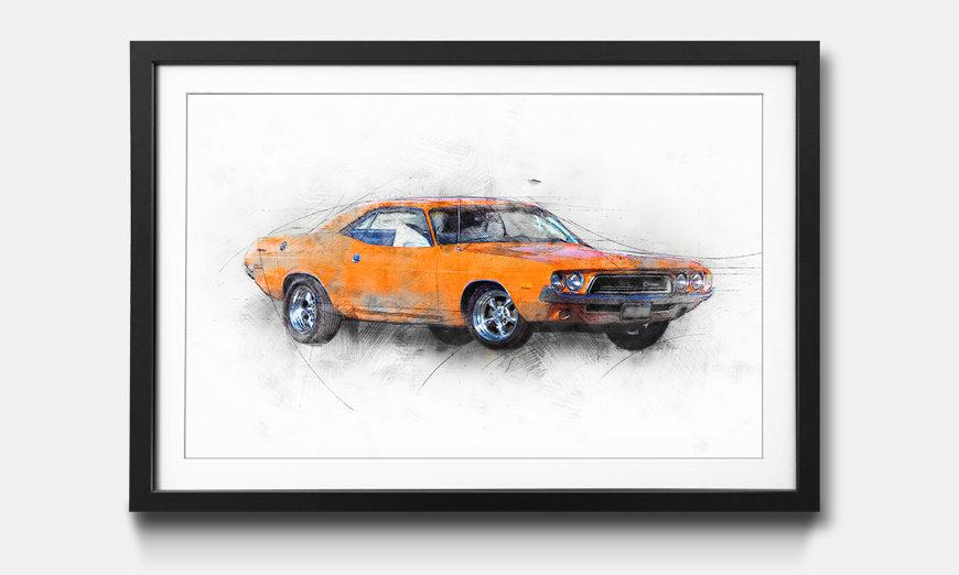 Kunstdruck gerahmt: Orange Muscle Car