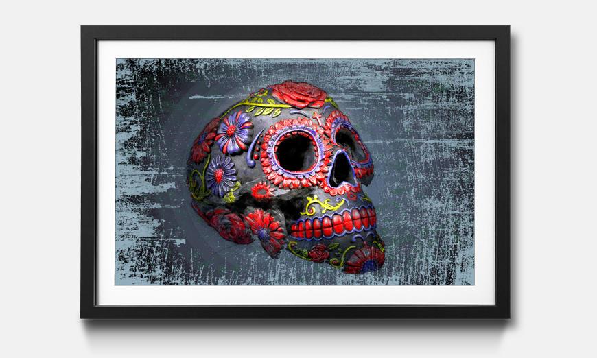 Kunstdruck gerahmt: Smiling Skull