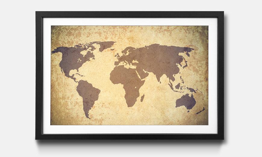 Kunstdruck gerahmt: Worldmap Grunge