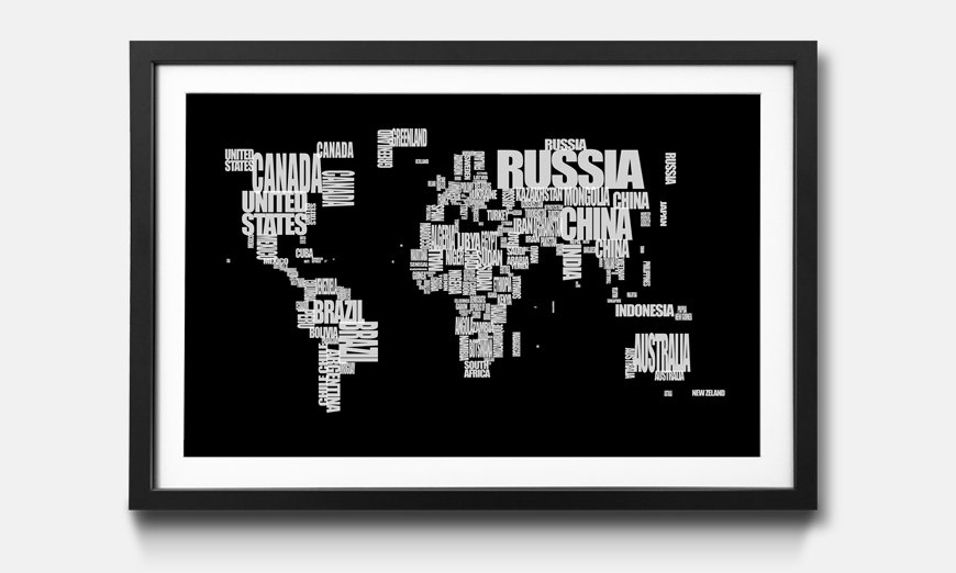 Kunstdruck gerahmt Worldmap No 14