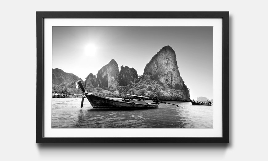 Wandbild gerahmt Boats On Railay