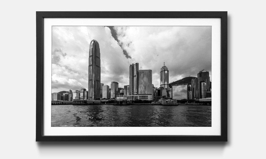 Wandbild gerahmt: Hong Kong Skyline