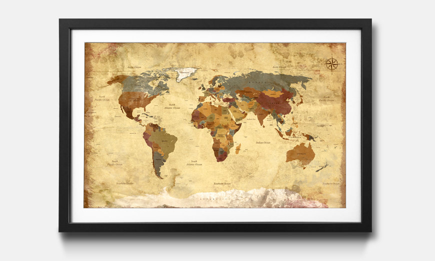 Wandbild gerahmt: Old Worldmap 4