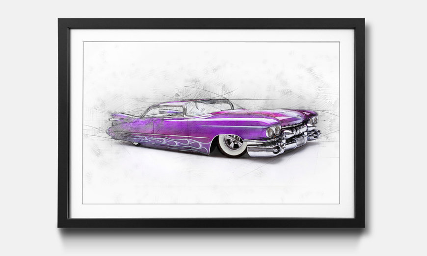 Wandbild gerahmt: Pinky Cadillac