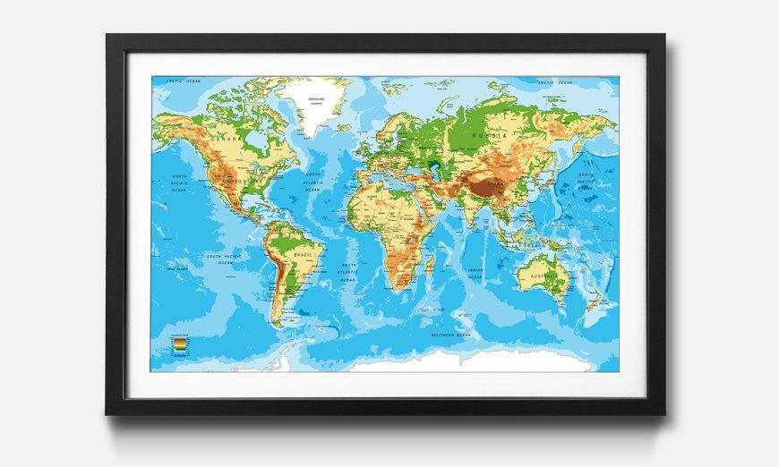 Wandbild gerahmt: Worldmap New Look