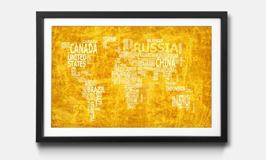 Wandbild gerahmt: Worldmap No.15