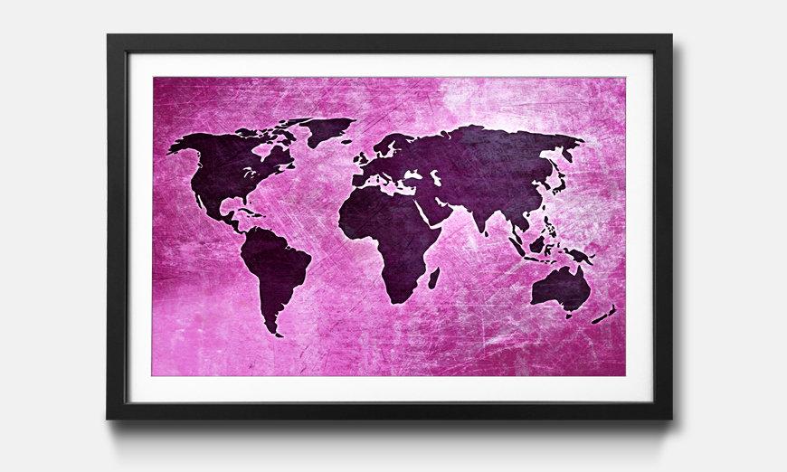 Wandbild gerahmt: Worldmap No.4
