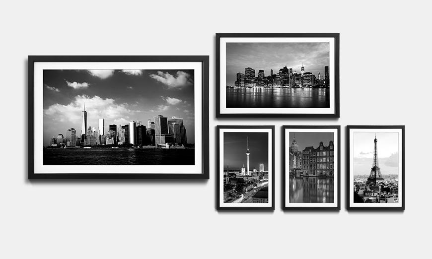 Rahmen Set Skylines Monochrome