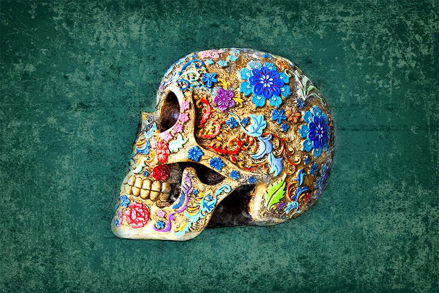 Die Vliestapete Colorful Skull