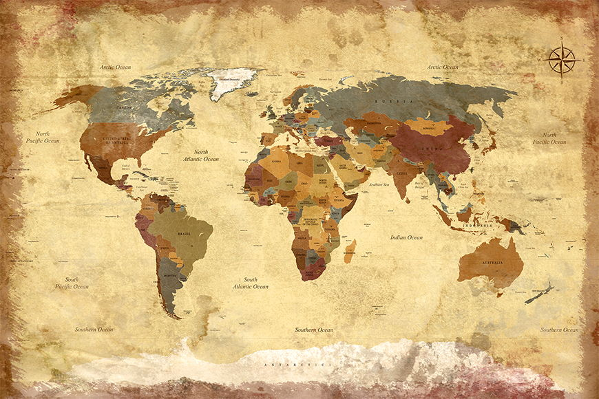 Fototapete Old Worldmap 4 ab 120x80cm