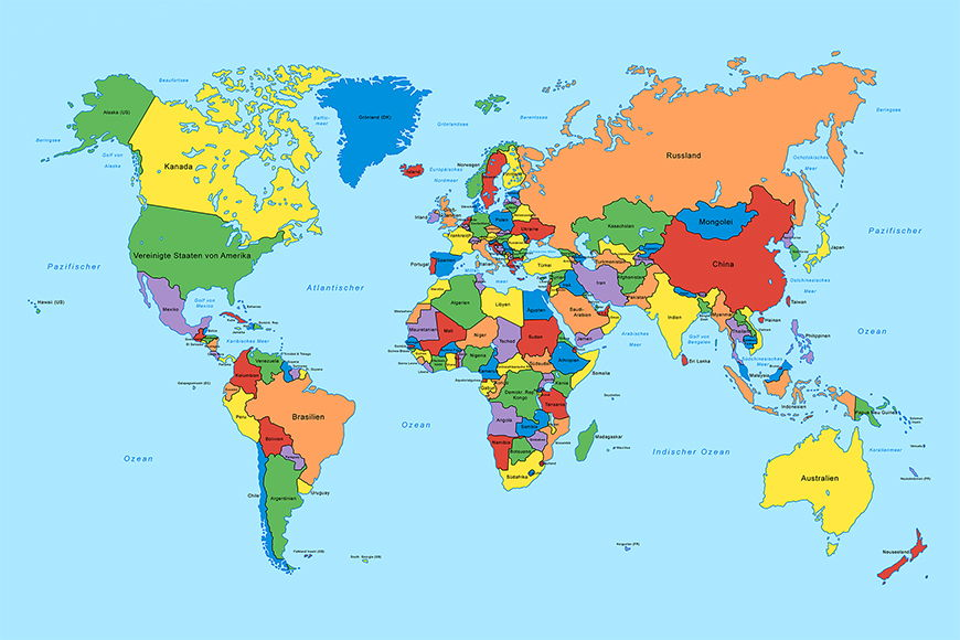 Fototapete Worldmap classic ab 120x80cm
