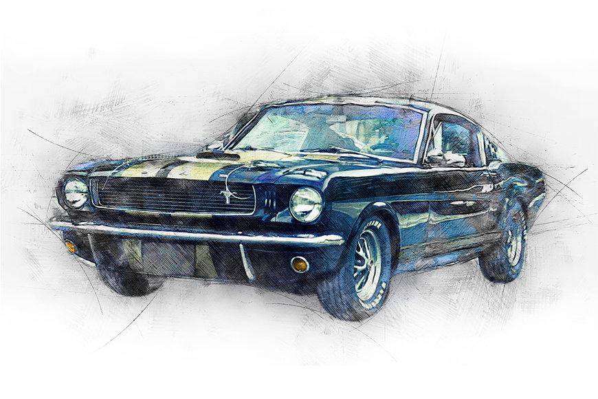 Vlies Fototapete Black Mustang