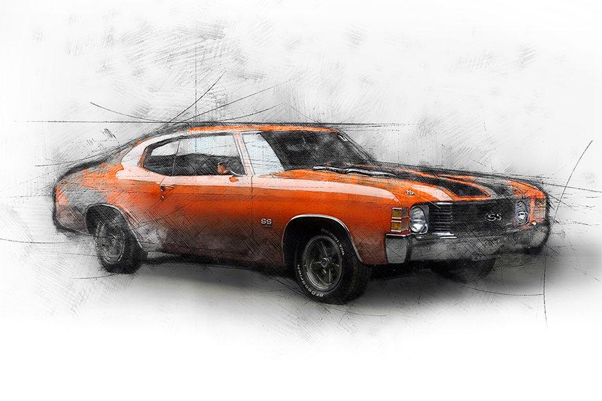 Vlies Fototapete Muscle Car