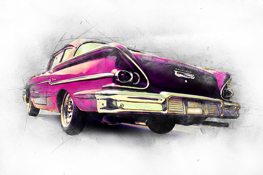 Vlies Fototapete Pink Chevrolet