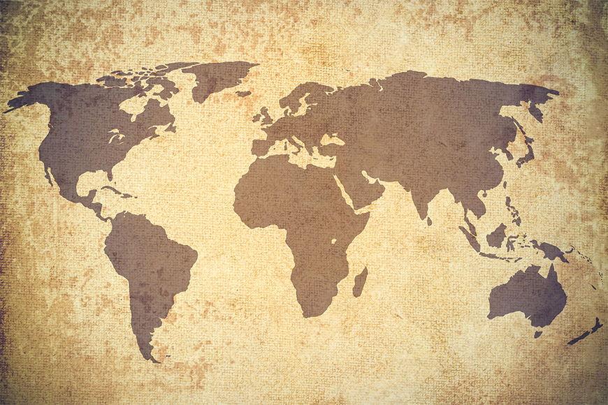 Vlies-Tapete Vintage Worldmap in S bis XXL