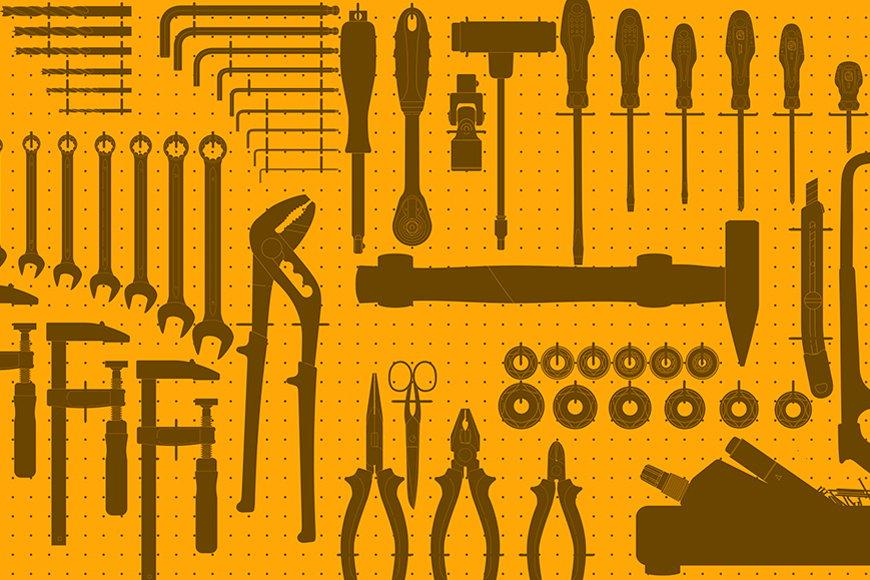 Vlies-Tapete Werkzeuge ab 120x80cm