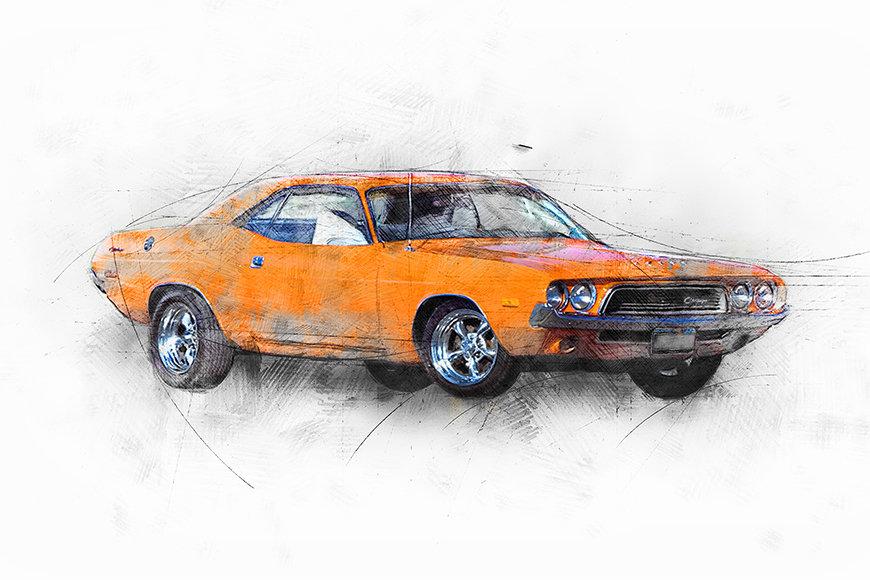 Vliestapete Orange Muscle Car