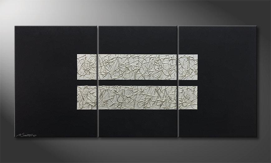 Das Leinwandbild Aboiled Silver 150x70x2cm