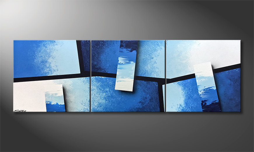 Das Leinwandbild Blue Stacks 210x70cm