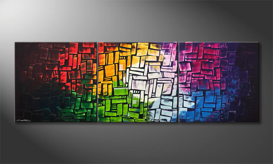 Das Leinwandbild Colors Of Light 210x70x2cm
