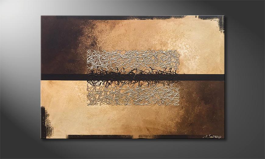 Das Leinwandbild Divided Silver 120x80x2cm