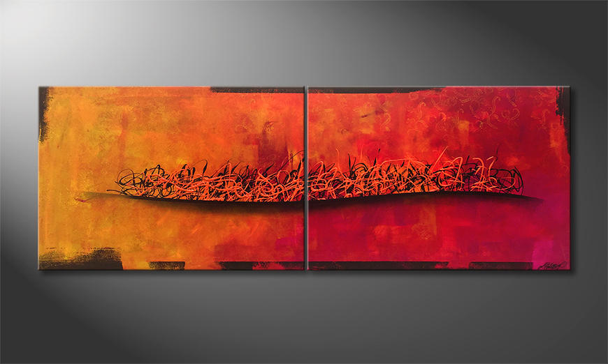 Das Leinwandbild Fire Wave 200x70x2cm