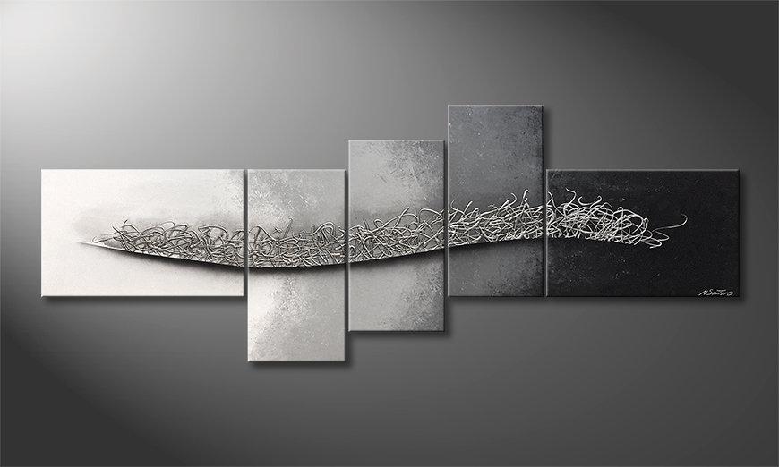 Das Leinwandbild Flowing Silver 210x80x2cm
