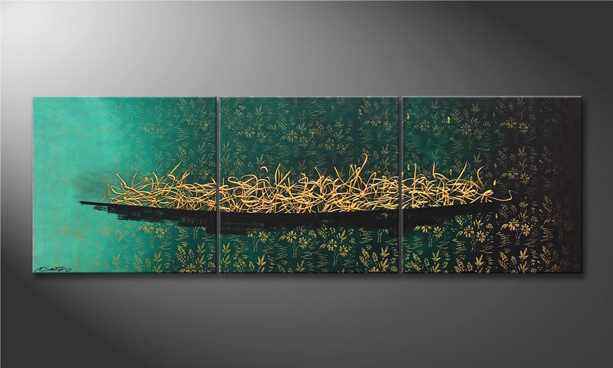 Das Leinwandbild Golden Secret 180x60x2cm